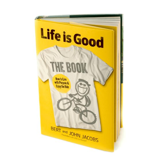 The front of the Life is Good Book on an empty white background.
