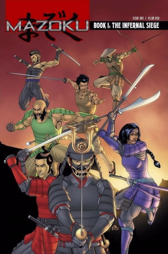 A comic book cover with a group of feudal Japanese warriors on it.