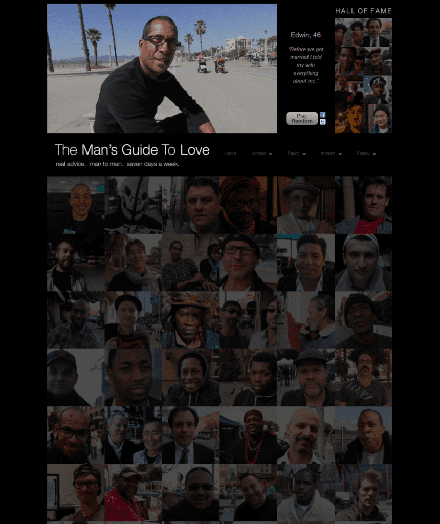 A screenshot of a website showing a bunch of men looking at the camera.  Pictures arranged in a grid.  The Man's Guide To Love is the website.