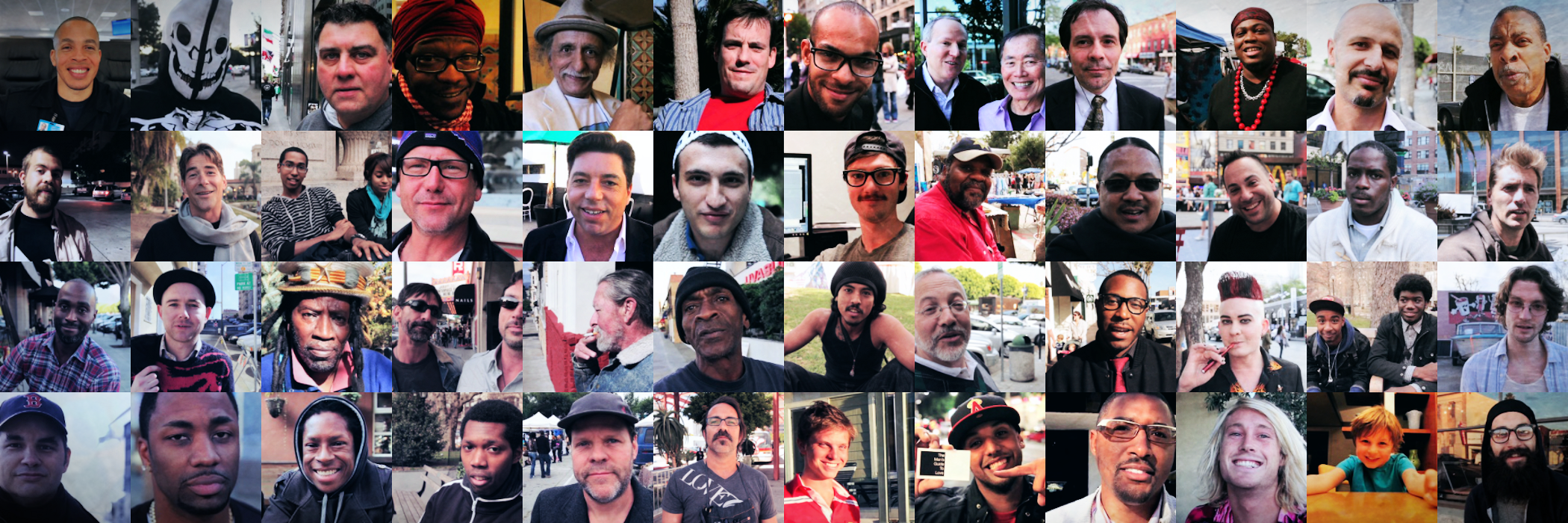Many male faces in a four-by-twelve grid. Original edit of the website - The Man's Guide To Love.