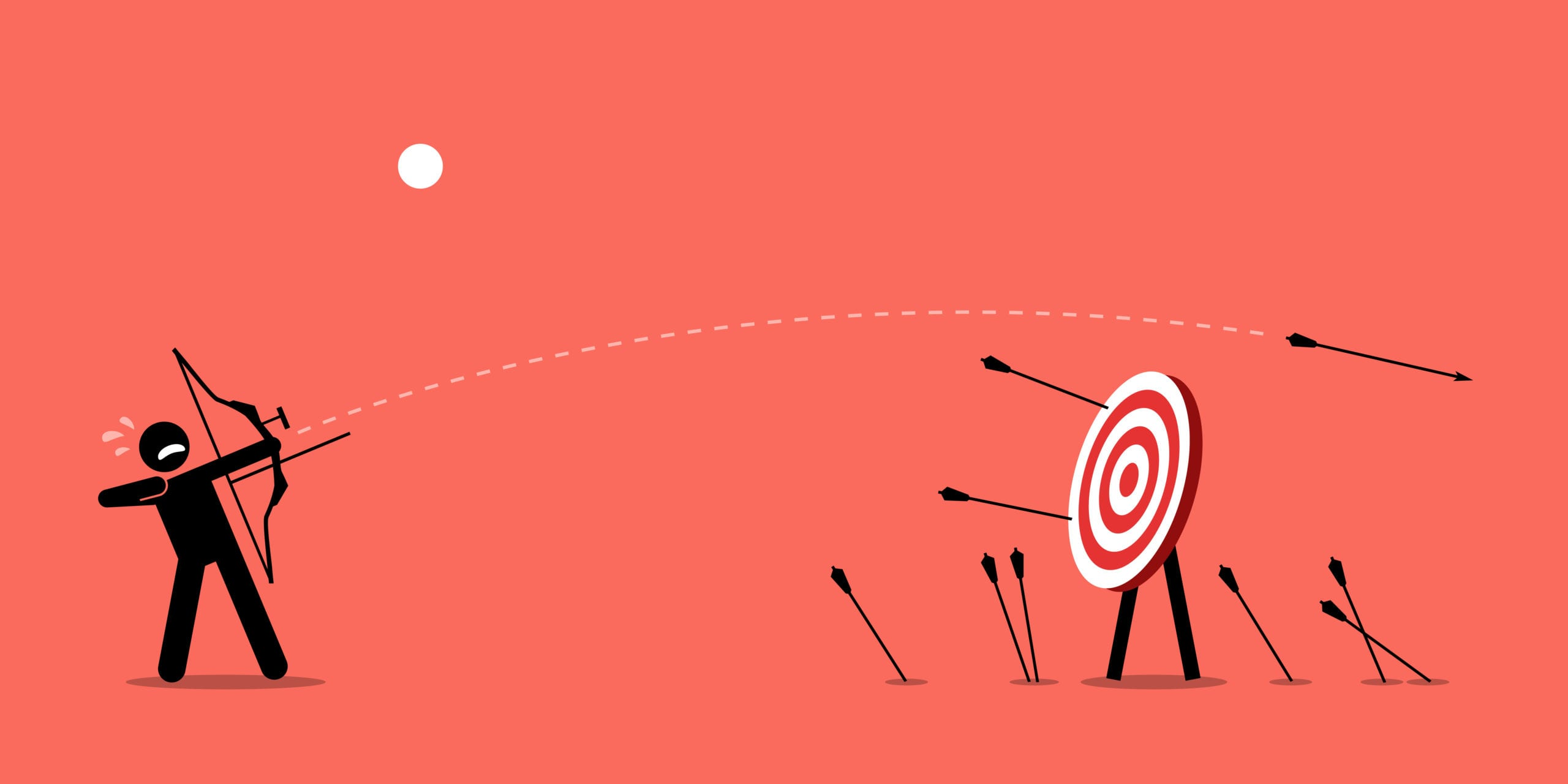 Illustration of a stick figure doing archery over a solid background missing the target.