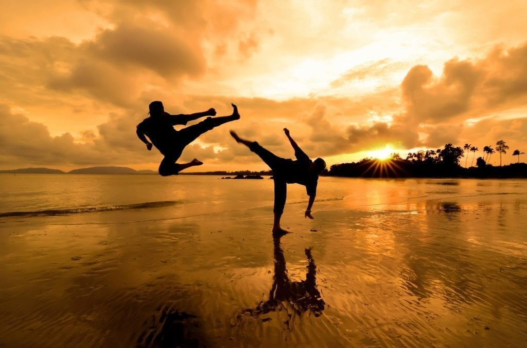 Silhouettes of 2 martial artists fighting on shallow water with a sun-lit backdrop.  One is doing a dropkick while the other is doing a roundhouse.