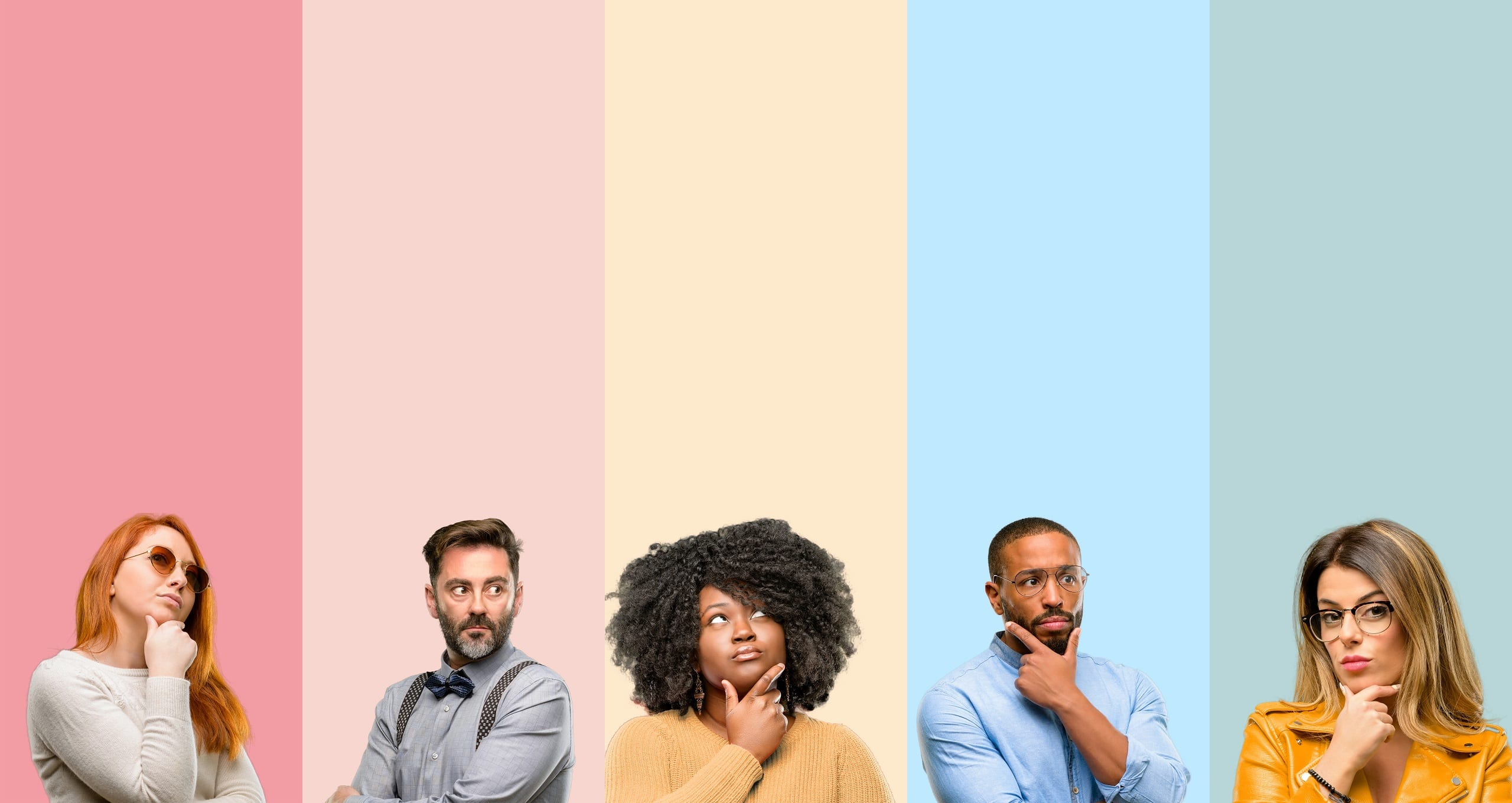 A diverse group of people in the process of thinking over a colorful background.