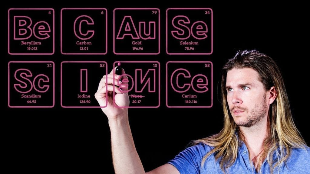 Because Science host Kyle Hill writing out the name of the show in reverse as a graphic design using the periodic table of elements.