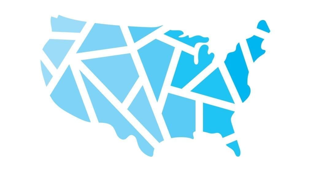 A graphic of a blue United States divided into geometric shapes on a white background.