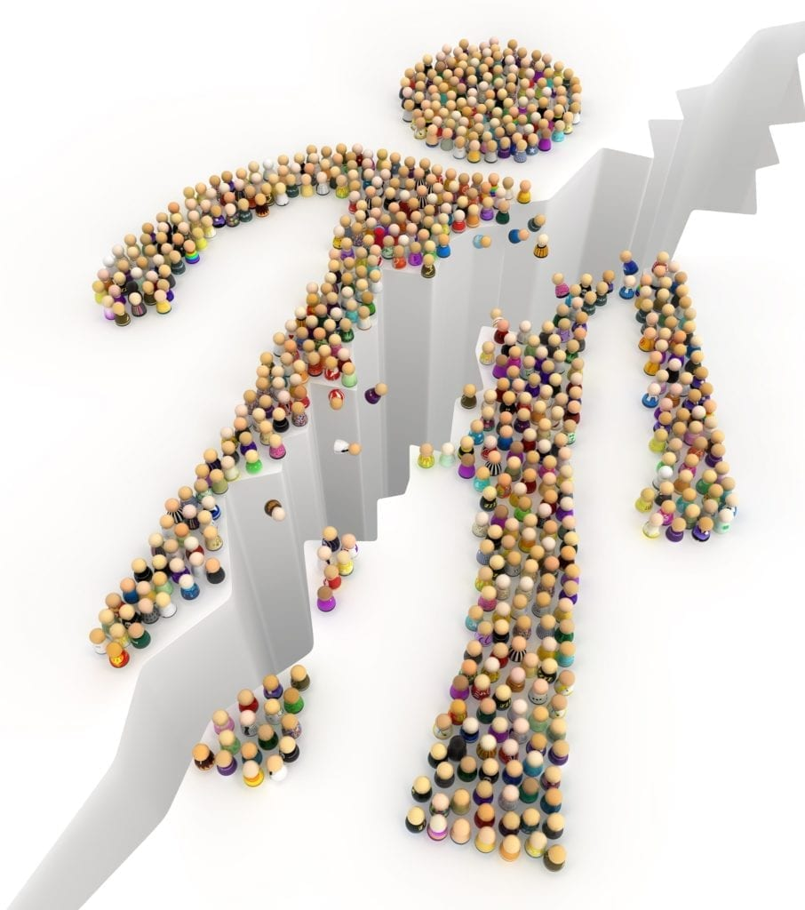 Crowd of small symbolic figures forming big person shape cracked, 3d illustration, horizontal, over white.