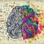 A graphic representation of the left & right processing sides of the brain.