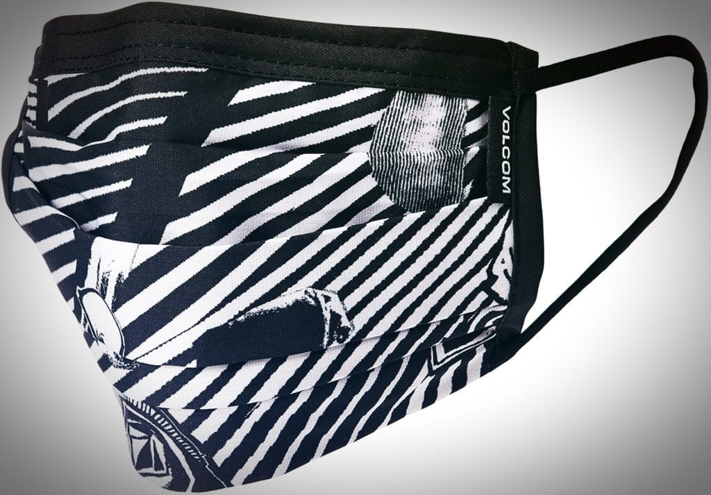 Photo of a Volcom label face mask.