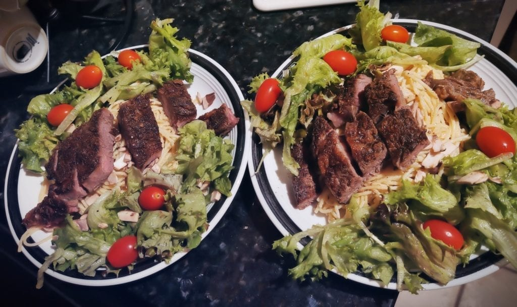 Steak salads I prepared using a ribeye.  Quick Easy Simple Home-cooked Meals