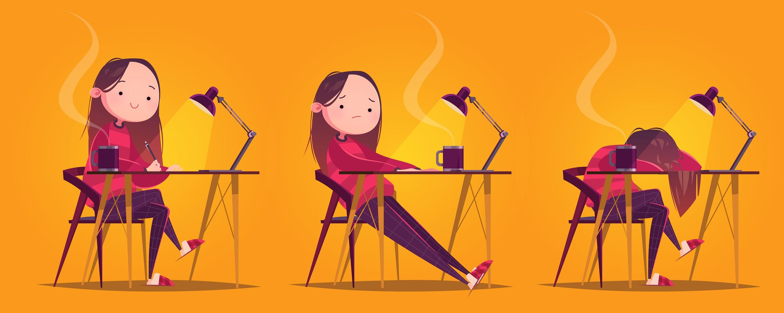 Cute cartoon character working girl at the table with a mug and lamp.