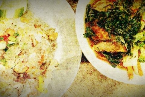 Two plates of food from Sisters Thai that have been digitally altered.