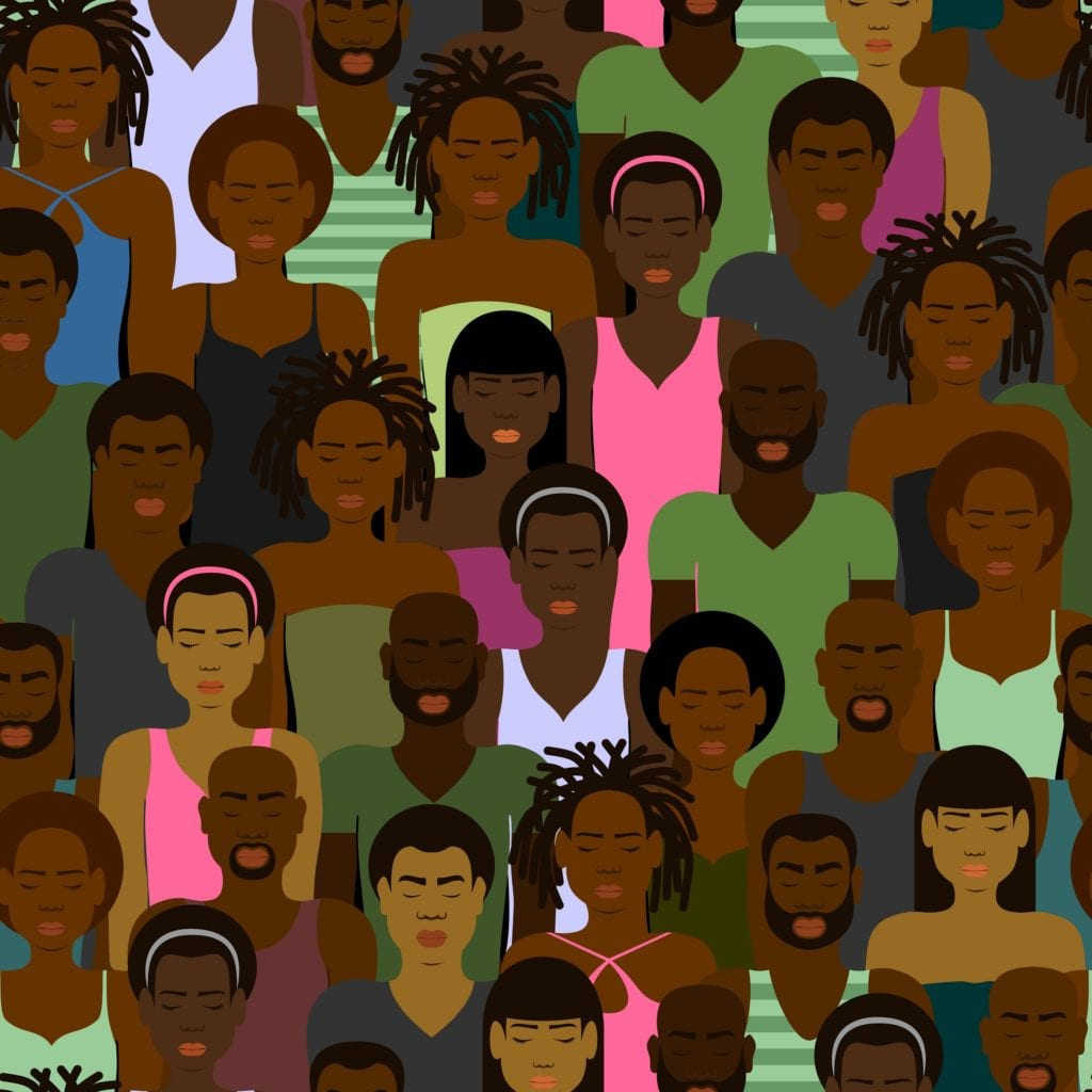 SEAMLESS PATTERN WITH A CROWD OF BLACK AFRICAN AMERICANS