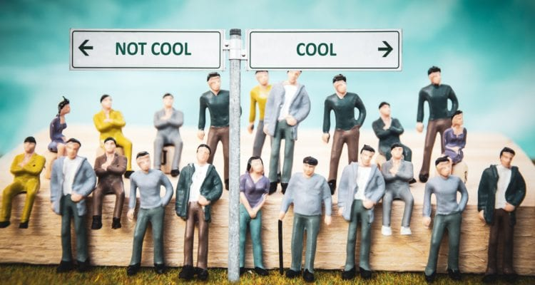 Street Sign the Direction Way to Cool versus Uncool