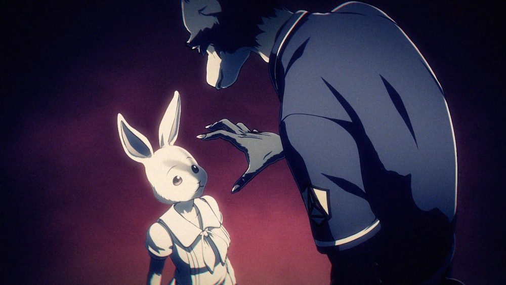 A wolf approaching a bunny from Beastars.