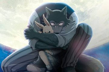 An image of a wolf holding a bunny under a full moon.
