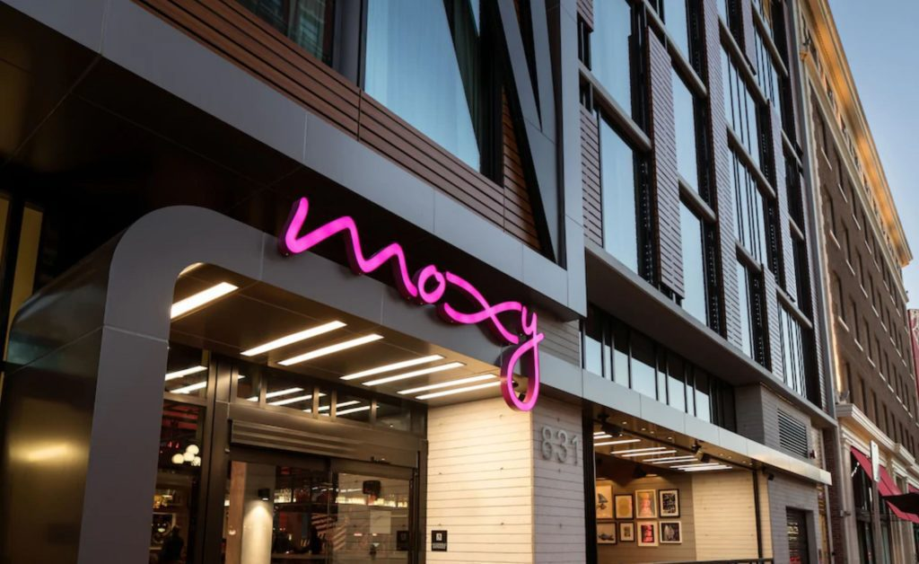 The entrance of The Moxy in San Diego's Gaslamp Quarter.