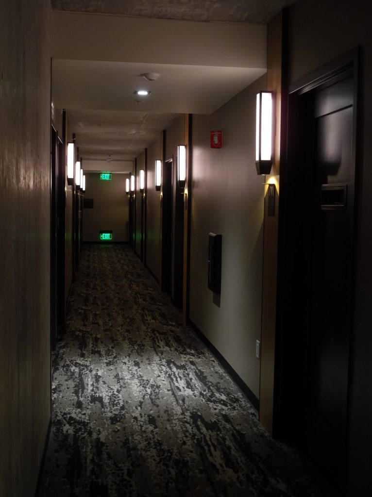 A hallway at The Moxy.