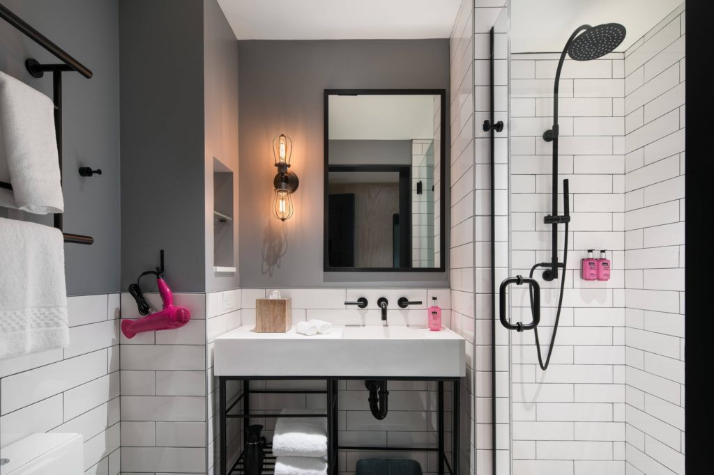 A bathroom in one of the smaller rooms at The Moxy.