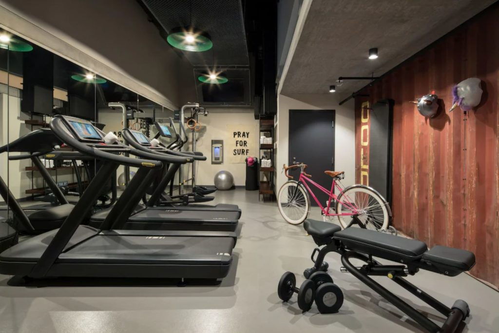 The gym at The Moxy in San Diego's Gaslamp Quarter.