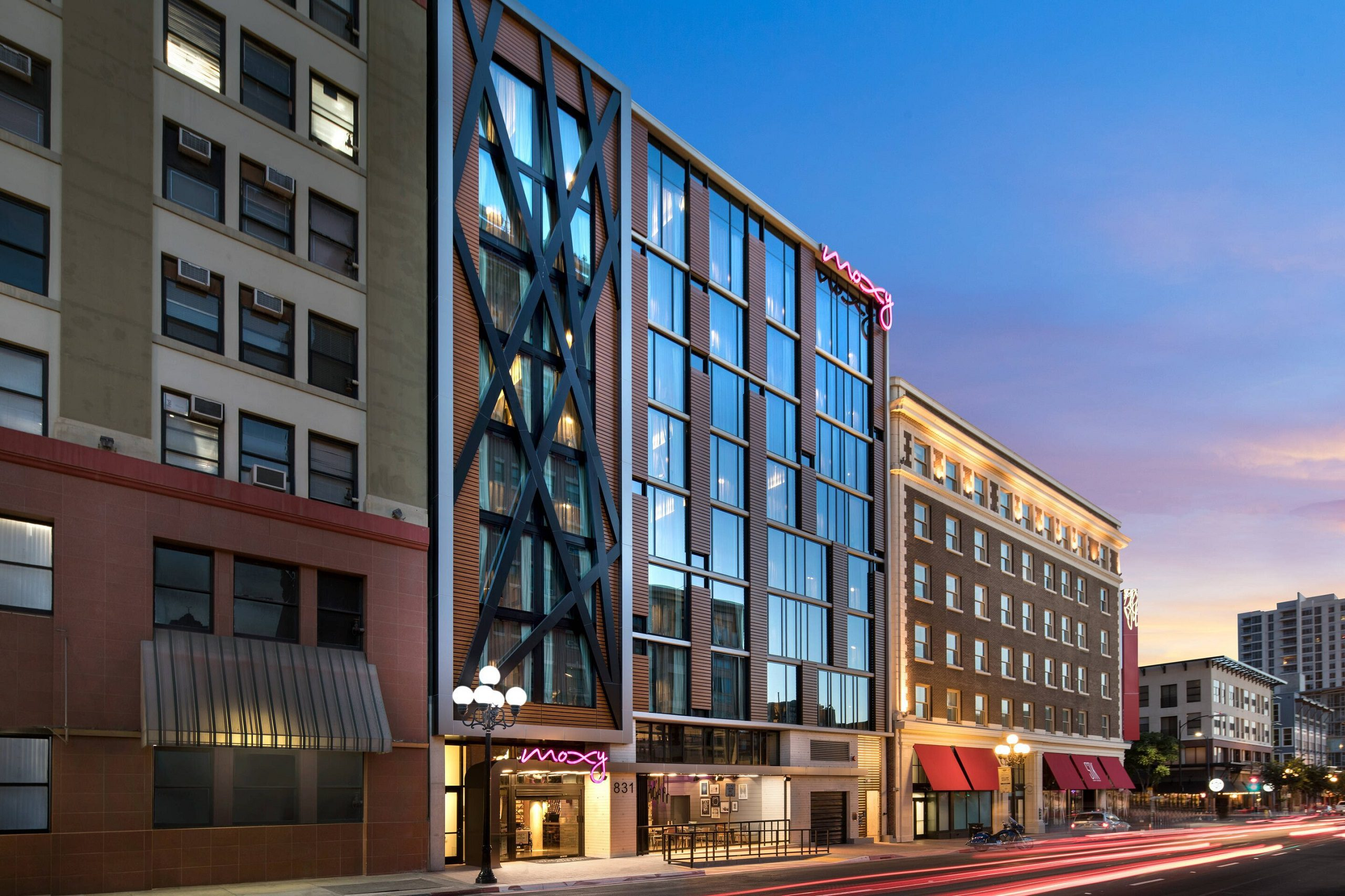 An outside view of The Moxy Hotel in San Diego's Gaslamp Quarter.