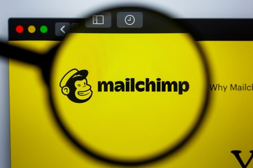 MAILCHIMP.COM website homepage. MAIL CHIMP logo visible on display screen.