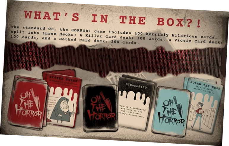 What's included in the OH, the HORROR card game Kickstarter.