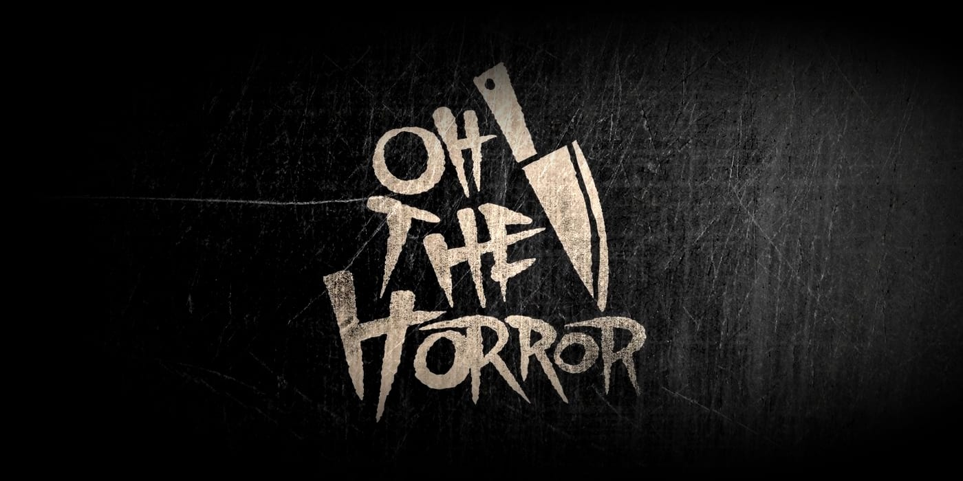 The Oh, The Horror card game logo on an ominous background (Kickstarter).