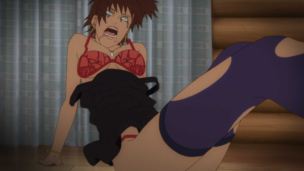 A terrified woman on the ground in shock in her torn underwear from GYO: Tokyo Fish Attack!