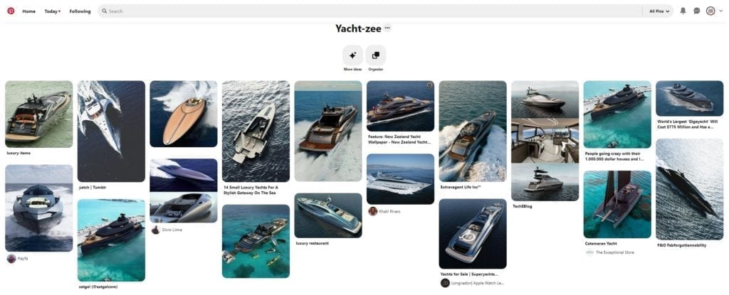 A screenshot of my Pinterest board Yacht-zee, dedicated to my love of yachts.