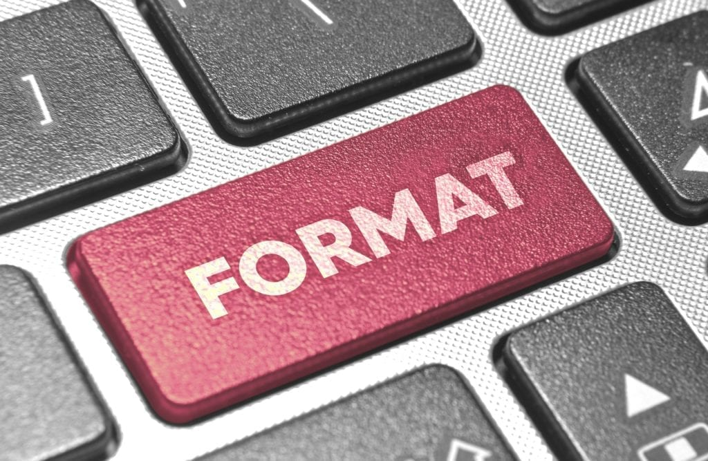 FORMAT word in pink keyboard buttons (WordPress Site Theme Update).