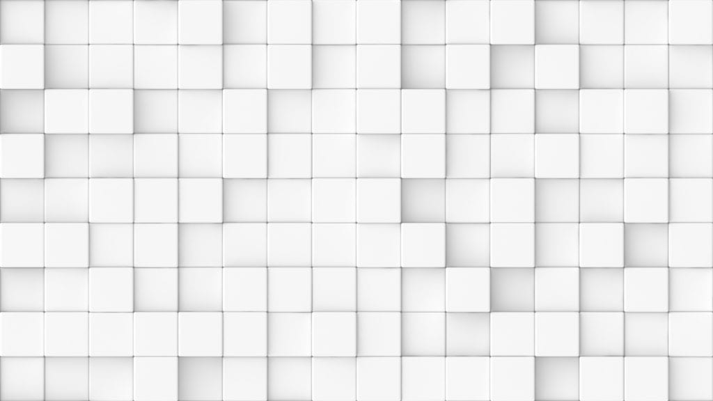 3d rendered background texture of white round edged cubes at slightly different depths.