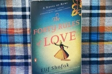 """A photograph I took of the book cover of the paperback version of """"The Forty Rules of Love"""" by Elif Shafak."""
