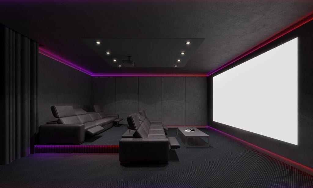 A very nice home movie theater set-up.