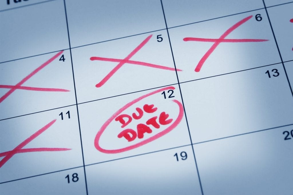 Goals Due Date - an image of a calendar with dates marked off and a due date circled.