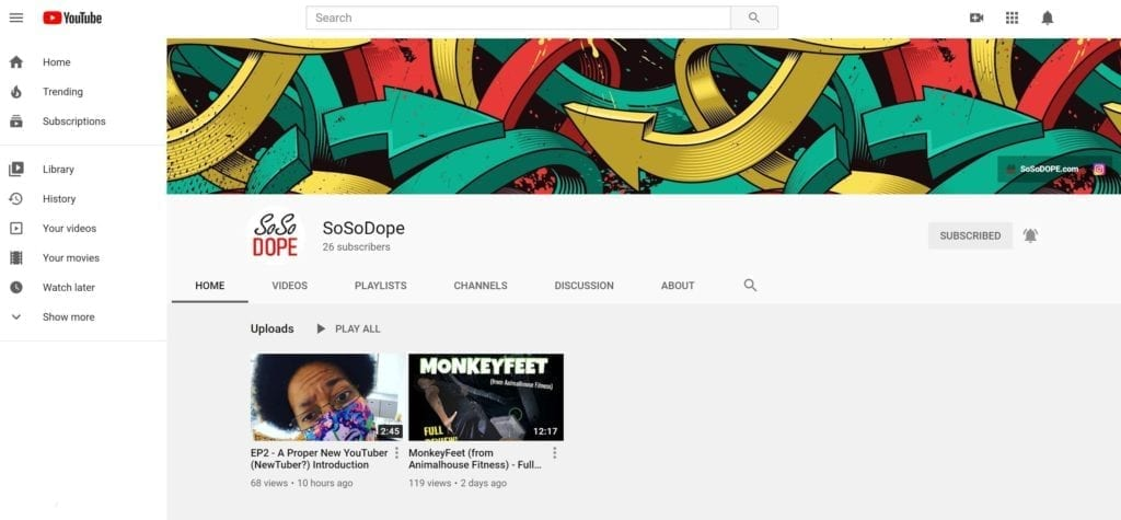 A screenshot of the SoSoDOPE YouTube Channel.