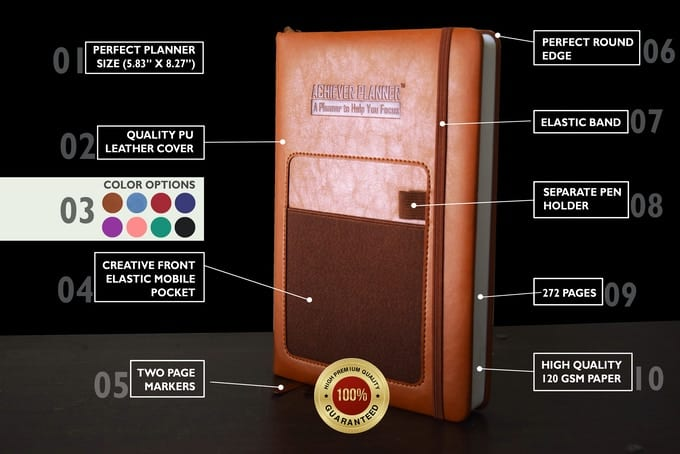 The specs for the Achiever Planner.