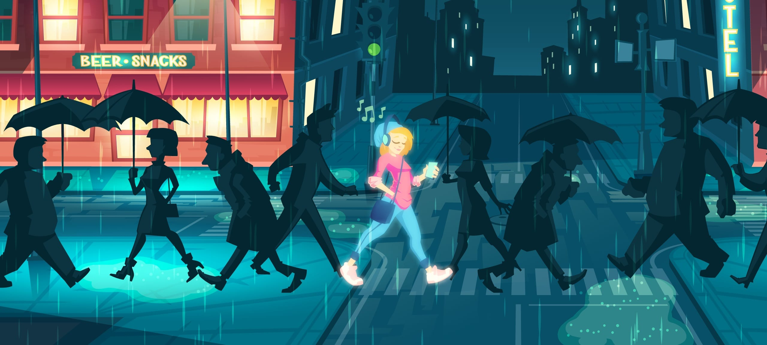 An illustration of a woman with positive Vibes while walking down a dark street full of gloomy people.
