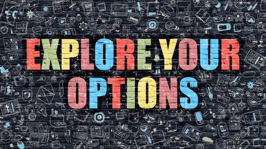 Explore Your Options Drawn on Dark Wall. Explore Your Options in Multicolor.  Versatility.