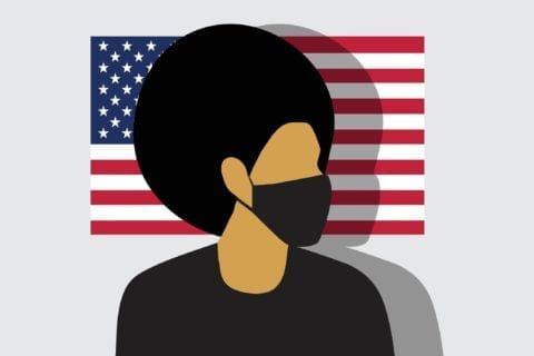 A graphic of a light skinned black male standing in front of a U.S. flag while wearing a face mask.