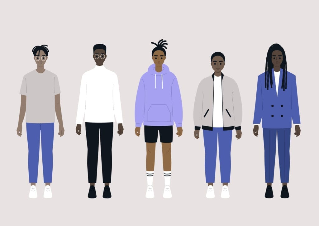 A set of young black male characters wearing different outfits: sport, casual and business.