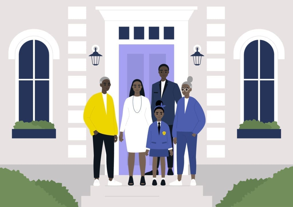 A multi-generational black family standing in front of the building, real estate property.