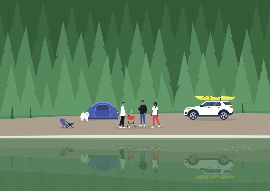 A camping scene, a diverse group of characters making barbecue at the mountain lakeshore, a spruce forest in the background.