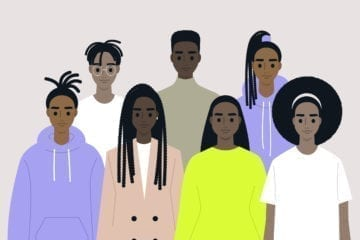 Black community, African people gathered together, a set of male and female characters wearing different clothes and hairstyles.