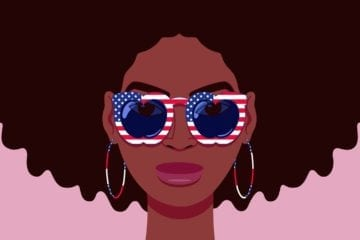 Cartoon portrait of young Black woman with sunglasses that have apple shaped lenses and stars and stripes of the USA flag