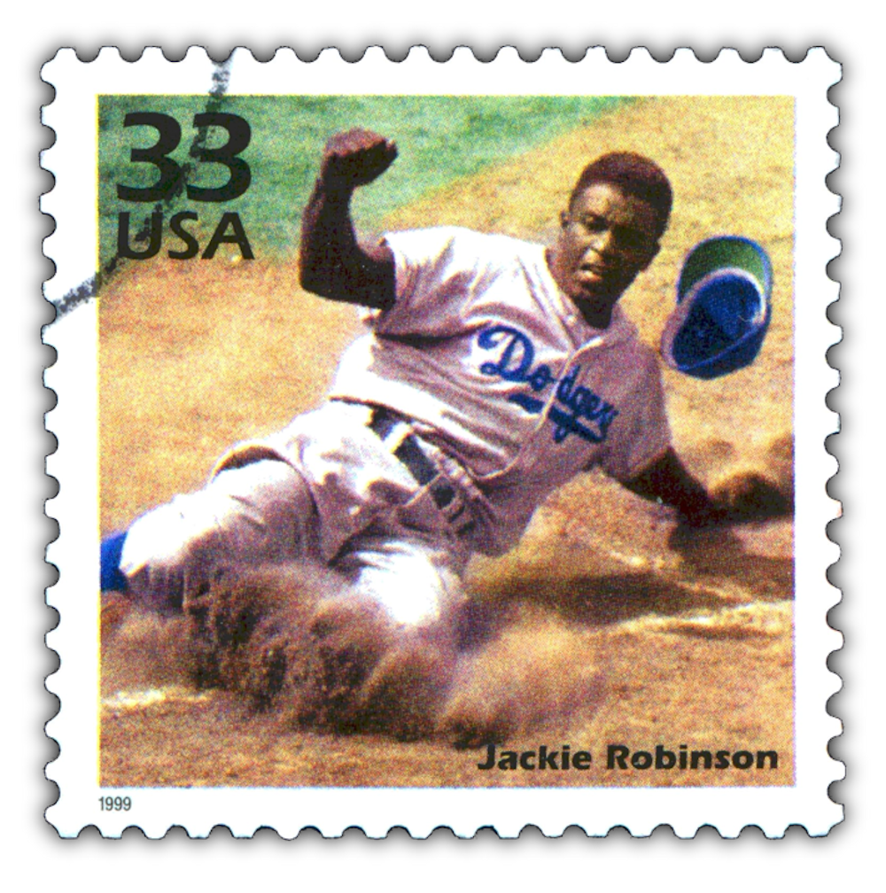 a postage stamp printed in USA showing an image of Jackie Robinson, CIRCA 1999