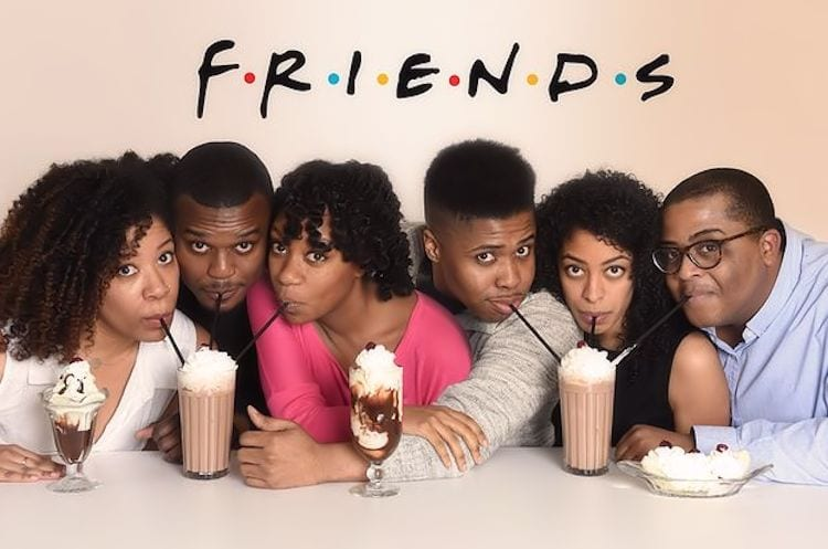 A group of Black People posing similarly to a photo of the cast from the famous TV sitcom Friends.