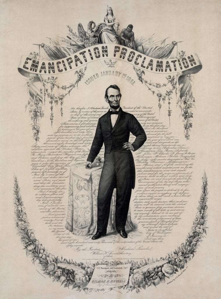 Commemorative print of Abraham Lincoln with the text of the Emancipation Proclamation.