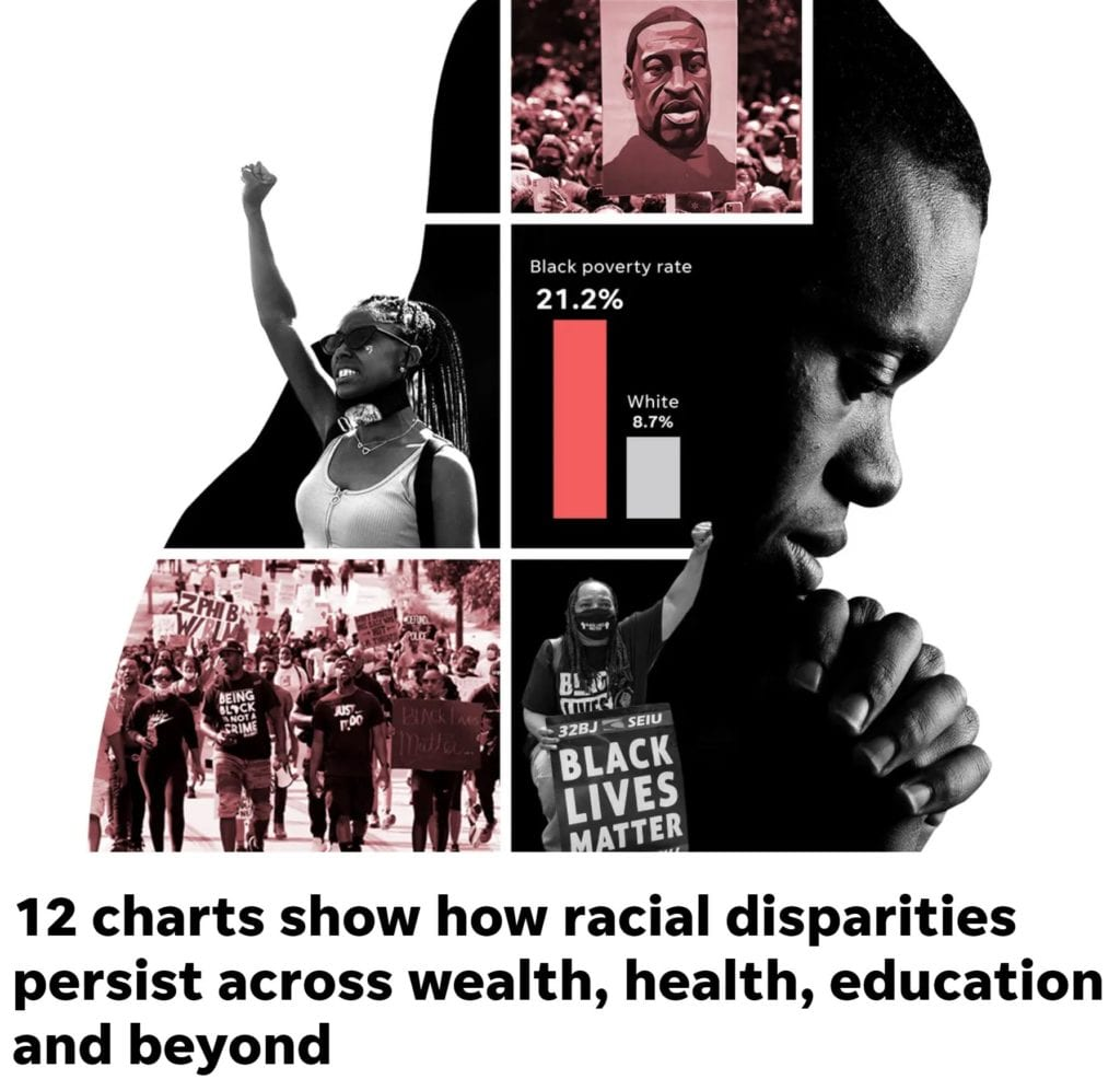 A screen shot from a USA Today article about U.S. Racial Disparity.