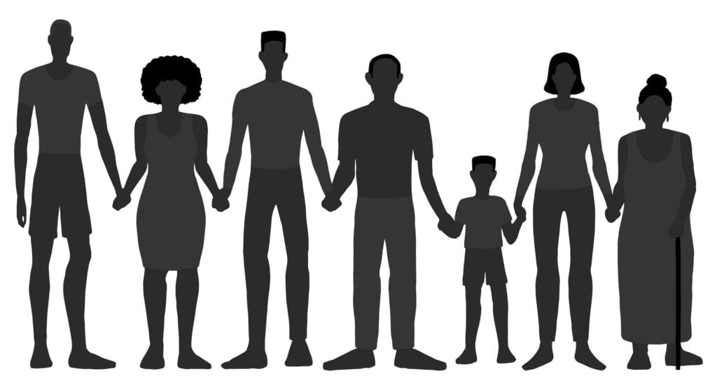 Silhouettes of Black People of different gender and age holding hands together over a white background.