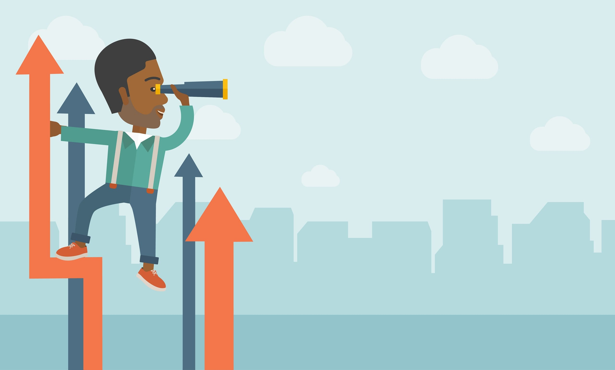 A successful African American businessman stand on top of graph arrow using his telescope looking how high he is.
